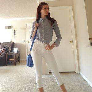 💙Blue&white💙 stripe polka dot dress shirt
